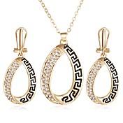 Sady šperků imitace drahokamu Jedinečný design Slitina Geometric Shape Zlatá 1 x náhrdelník 1 x pár náušnic Pro Párty Ležérní 1Nastavte