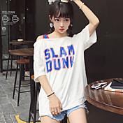 Estilo real de la calle del tiro las letras coreanas bf ropa de deportes oblicua color de la colisión sección larga de la camiseta floja