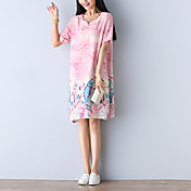 文学レトロコットンプリントドレスの女性pankou記号' sの夏の緩いリネンAラインスカート