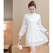 長いセクションで緩い2017春新しい韓国の女性は薄いビーズのレースの長袖のドレスの底打ちでした