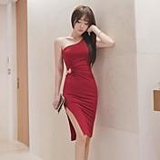 2017夏の新韓国シリーズ中空ノースリーブドレスパッケージヒップスカートドレスセクシーなスリットドレス