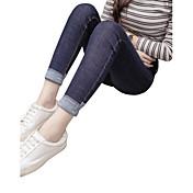 Versión coreana de los modelos de primavera de los pantalones vaqueros azules que ensanchan femenina pies pantimedias lápiz pantalones