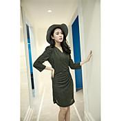 Signo primavera nueva coreana mujeres sexy club nocturno cadera del paquete delgado vestido de cintura fina v-cuello