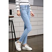 春と秋の新しい韓国潮の穴パンスト人格のズボンウエストゴムのジーンズのズボンの足スリムは薄かったです