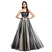 レースプリーツ付きaラインの恋人の床の長さのレースチュールフォーマルイブニングドレス