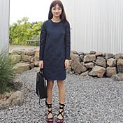 Corea del estilo elegante vestido de cuello redondo de manga larga con bolsillos grandes punto grande
