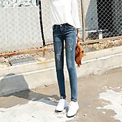 サインウエストジーンズ女性の足のパンツ、鉛筆のズボン韓国のヤード9ポイントのズボンスリムは薄い学生だった