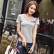 レディース カジュアル/普段着 Tシャツ,シンプル Vネック ソリッド コットン 半袖 薄手