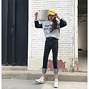 Pour states 2 signo qing yun 2017 modelos primavera cintura jeans rectos buena calidad puños negro