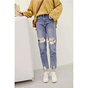 Signo 2017 pantalones flojos de la cintura de los pantalones vaqueros del talón de la rodilla del coreano bordes laterales irregulares
