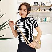 Signo coreano de manga corta rayas knit coreano ventilador salvaje cuello redondo camiseta estudiantes