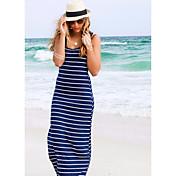 Estalló modelos en Europa y América raya sin mangas jumpsuit moda sexy vendaje vestido falda playa vestido