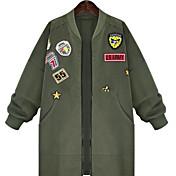 2017 primavera nueva grandes de las mujeres europeas y americanas de tamaño mm de grasa larga sección de la chaqueta cazadora era delgada