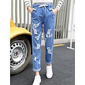 新しい春と夏のタッセル乞食の穴のジーンズ女性のルーズなズボンワイドパンツズボン