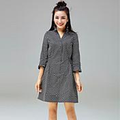 Mujer Línea A Vestido Casual/Diario Simple,A Lunares Cuello Camisero Sobre la rodilla 3/4 Manga Algodón Primavera Verano Tiro Medio Rígido