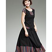 Nuevas mujeres&# 39; s viento nacional cuello redondo de manga corta camisa de algodón costura