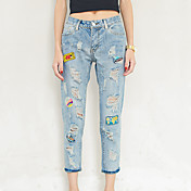 Excelente cliente realmente haciendo 2017 primavera nuevos agujeros de parche de insignia en jeans hembra luz