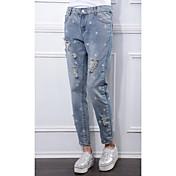 Auténtico tiro otoño nueva pierna europea pantalones sueltos colapso femenino pantalones casuales bordados denim pantyhose agujero coreano