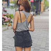 Mujer Sexy Diario Cita Verano Camiseta,Escote en U Color sólido Sin Mangas N/A Medio