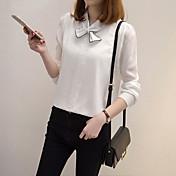 実際に2017年春の女性を作ります' sの大学の風の弓シフォン長袖シャツシャツシャツは薄い韓国のファンでした