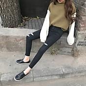 2017 nueva versión coreana del agujero negro nueve puntos de los pantalones vaqueros estiramiento femenino pantalones pies lápiz