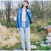 Signo estilo atributo sus editores recomendar de manga larga camisa de mezclilla femenino coreano salvaje