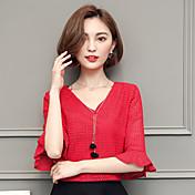 Señale el resorte y las nuevas yardas coreanas de los pantalones salvajes del color sólido del v-cuello de la manga del trompete de la