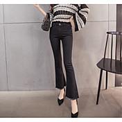 2017 signo nueve micro altavoces cintura pantalones de pierna ancha delgada borla elástico pantalones vaqueros hembra era delgada nueve