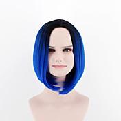 欧州と米国の新しいファッションのかつら短い髪のかつら通気性黒青omber合成繊維ウィッグ