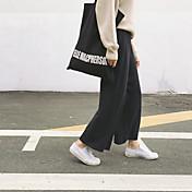 Hitz versión coreana de la cintura elástica suave pierna ancha del color sólido recta rentable de punto flojo pantalones mujer