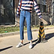 緩いストレート春の新しいファッションのデニムパンストに署名
