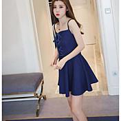 Signo 2017 nueva eslinga delgada atractiva coreana del dril de algodón de la cintura antes de la falda envuelta pecho del vestido del
