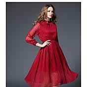-2017新しいヨーロッパやアメリカの長袖のシフォンドレスエレガントな長いセクションストライププリントのドレス本物のショット