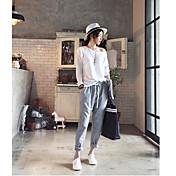 2017 primavera nuevas mujeres coreanas&# 39; s pantalones casuales pantalones de harén versión coreana de las rayas verticales