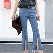 cintura elástica doble personalidad del resorte de destello nuevos pantalones vaqueros de corte para botas mujer era delgada marea