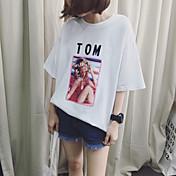 Verano nuevo retro impresión de manga corta camiseta femenina carta algodón grandes sueltos algodón 6535