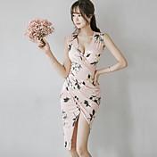 レディース お出かけ ボディコン ドレス,フラワー Vネック アシメントリー ノースリーブ ポリエステル 春 夏 ミッドライズ 伸縮性なし 薄手