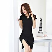 Verano real 2017 mujeres&# 39; s versión coreana de las nuevas damas de moda delgado paquete de cadera sexy v-cuello marea vestido