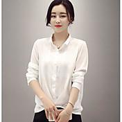 Camisa de gasa hembra 2017 primavera nueva sólida salvaje camisa de la camisa era delgada camisa femenina de gasa de cuello de la muñeca