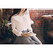 人形の襟に長袖の白いシャツの女性を底春新しい韓国の文学的気質に大きなラペル緩いシフォンシャツ