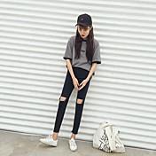firmar las mujeres del otoño coreano cintura alta negro y gris retro rodilla cortó sueltos estudiantiles salvaje vaqueros pies