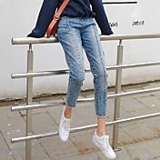 signo de flash coreano lavó dril de algodón pantalones ocasionales cintura jeans rectos pantyhose salvaje