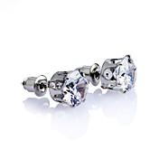 Pendientes cortos Diamante Zirconio Zirconia Cúbica Plateado Chapado en Oro Estilo Simple Clásico Dorado Plata Joyas Fiesta Diario Casual