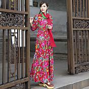 firmar noreste por dora 2017 primavera nueva gran flor vestido de láminas mismo color xin zhang