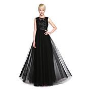 Corte en A Joya Hasta el Suelo Tul Vestido de Dama de Honor con Apliques Cinta / Lazo Lentejuelas por LAN TING BRIDE®