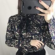 本当のショットは、新しいレトロな花のシフォンシャツの襟の半分の純粋なの薄い韓国版だった