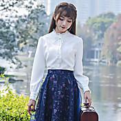 十年2017春新しい女性のレトロな刺繍入りの襟長袖の白いシャツのシャツスリム薄い下