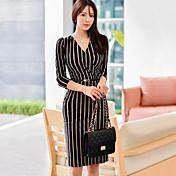 2016 mujeres delgadas del vestido de la cadera del paquete del temperamento de la correa del nuevo del v-cuello atractivo femenino coreano