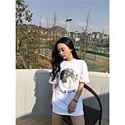 firmar salvaje camiseta de la luna marea femenina de manga corta blanco y negro