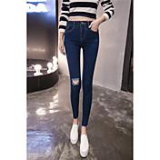 符号2017春モデルソリッドカラーハイウエストスキニージーンズ女性の膝擦り切れ穴の足の鉛筆のズボンをトリミング